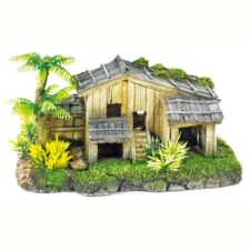 aquarium deko holzhaus mit palme